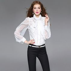PrettyGuide Women Stand-Up Collar Lotus Ruffle Shirts Blouse ($23 ...