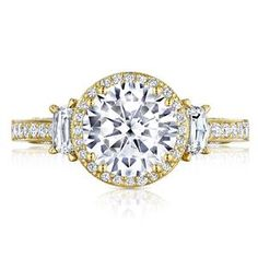TACORI Three Stone Yellow Gold Diamond Engagement Ring 2663RD8Y #ArthursJewelers