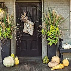 Pumpkin Ideas for Your Front Door Chesapeake Cottage Revival Fall Porch House Front Door, Front Door Decor, Front Doors, Entrance Decor, House Entrance, Pumpkin Decorating, Porch Decorating, Decorating Ideas, Fall Containers