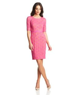Elegant Pink Fashionable: Maggy London Women's Flower Lace Elbow Sleeve Dress: Clothing