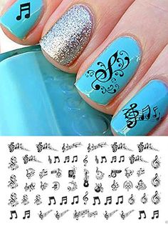 Sheet Music Notes Water Slide Nail Art Decals Set 2  Salon Quality 5 12 ** Be sure to check out this awesome product.