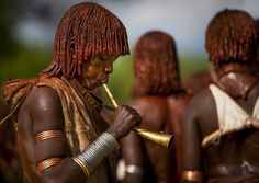 Hamar Tribe Woman Playing Music At Bull Jumping Ceremony, Turmi, Omo Valley, Ethiopia African Tribes, Single Men, Black Is Beautiful, Boys Who, Female, Woman, Faces, Google, Travel