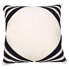 Art Deco Pillow V in Ivory & Black
