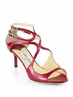 Jimmy Choo Lila Patent Leather Crisscross Sandals in Raspberry