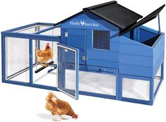 """A SECURE CHICKEN COOP: We have reinforced the run with hardware cloth and installed locks on all of the doors that can be used to access the inside of the chicken coop to prevent predators away. LARGE NESTING BOX: The built-in nesting box measure 12.7""""(L) x 27.7 """"(W) x 13.4""""(H) which has enough room to make your chickens feel comfortable and safe when laying their eggs. Use the lid to open the nesting box for ventilation and for easy removal of eggs. Chicken Swing, Poultry Cage, Small Chicken Coops, Best Chicken Coop, Wire Fence, Hen House, Toddler Bed, Chicken Breeds, Blue Walls"""
