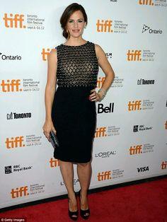 Jennifer Garner in Valentino! Love the faux sheer top!