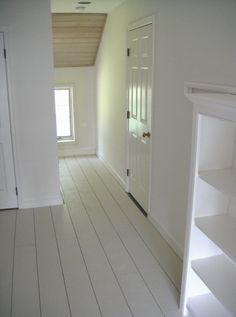 Rustic White Painted Floors for 45 Cents a Square Foot — Frugal Farmhouse Design plywood planks, primer, deck paint Painted Wooden Floors, White Painted Floors, White Wood Floors, Painted Floorboards, White Flooring, White Floorboards, Rustic Floors, Pine Floors, Wood Walls