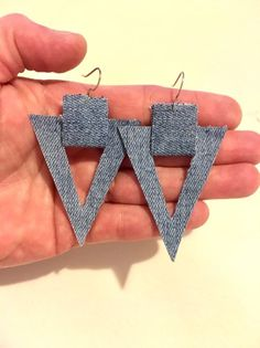 Excited to share this item from my shop: Denim geometric triangle earrings dangle drop boho bohemian hippie western bluejean fabric womens jewelry casual gift for her handmade Bar Stud Earrings, Leather Earrings, Boho Earrings, Leather Jewelry, Diy Denim Earrings, Fabric Earrings, Fabric Jewelry, Women's Jewelry, Jewellery