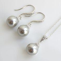 Pearl Jewelry Cubic Zirconia Bridal Jewelry Set Silver with Swarovski Pearl Light Grey Round Drops Bridesmaid Jewelry Wedding Jewelry
