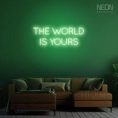 The World is Yours - be it your bedroom, office or a man cave, this neon sign is the perfect addition to your empty walls. Neon Sign Shop, Shop Signs, Neon Home Decor, The Heat, Message Of Encouragement, Acrylic Board, Neon Aesthetic, Sign Display, Custom Neon Signs