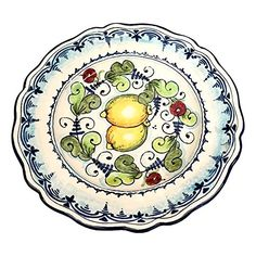 ( Notes : we need 10 days to make this item)Ceramic Serving plate for any use or to hang on the wall. Decorations lemons white: Branches of lemon on a white ivory frame with blue curls of old. Net weight Kg.0,800, Dimensions: 11,4 inch x 11,4 inch–All our products are lead-free and can be... see more details at https://bestselleroutlets.com/home-kitchen/kitchen-dining/dining-entertaining/plates/product-review-for-ceramiche-darte-parrini-italian-ceramic-art-pottery-servi