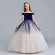 Chic / Beautiful Navy Blue Champagne Gradient-Color Suede Flower Girl Dresses 2019 A-Line / Princess Off-The-Shoulder Short Sleeve Floor-Length / Long Ruffle Backless Wedding Party Dresses Cute Girl Dresses, Stylish Dresses For Girls, Gowns For Girls, Girls Party Dress, Wedding Party Dresses, Flower Girl Dresses, Prom Dresses, Kids Frocks Design, Baby Frocks Designs