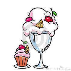 Ice cream cake cartoon illustration isolated image