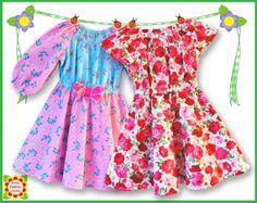 Flared Peasant DRESS PATTERN for Girls by DressPatterns4Girls, $6.90
