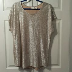 Shimmery Dressy Top Sparkly, lt. Weight, stretch, never been worn except to buy and try on. It's been in my closet and needs love. BEAUTIFUL! can be dressed up or worn with midi or long skirt, dress pants or jeans! The color is Champagne not yellow gold! Chico's Tops Tunics