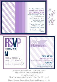 Wedding Invitation Suite Plum Love Design by PARTYBOXDESIGN