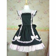 Black and White Lace Knee Length A Line Gothic Lolita Fashion Dresses SKU-11402637