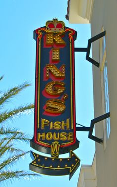 King's Fish House neon sign at the District in Henderson, Nevada