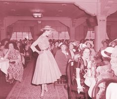 10E Model (Barbara Goalen) on catwalk in tearooms,