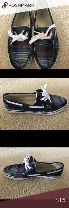 Dexter Multi/Plaid Boat Shoes barely worn, navy/multi colored plaid, boat style shoes, women's size 9 Dexter Shoes Flats & Loafers