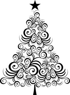 Christmas tree black outline Vinyl Wall Mural ✓ Easy Installation ✓ 365 Day Money Back Guarantee ✓ Browse other patterns from this collection! Christmas Tree Art, Christmas Drawing, Christmas Images, Christmas Colors, Christmas Projects, All Things Christmas, Holiday Crafts, Christmas Holidays, Christmas Decorations