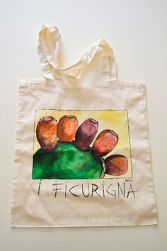 Tods Bag, Limoncello, Sicilian, Cactus, Reusable Tote Bags, India, Palermo, Painting, Chalkboard