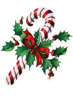 candy cane with bow and holly