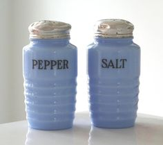Super delicious periwinkle blue vintage glass shakers from etsy.
