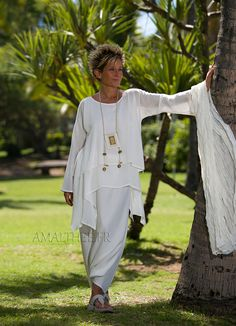 Loose fit natural white silk tunic perfect for wedding party
