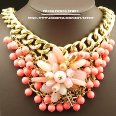 2014 Cute Big Candy Pink Crystal Flower Pendant Bijoux Beads Chunky Gold Chain Statement necklace