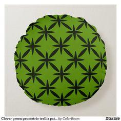 Clover green geometric trellis pattern round pillow Soft Pillows, Throw Pillows, Green Cushions, Clover Green, Trellis Pattern, Round Pillow, Decorative Cushions, Vibrant Colors, Lime