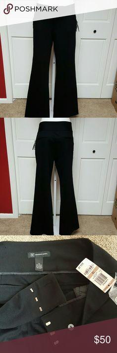Inc International Concepts Wide Leg Regular Brand:INCStyle:Pants  Size Type:Regular Bottoms   Material:60% Rayon 35% Nylon 5% Spandex Color:Deep Black Inseam:33 Size:12 INC International Concepts Pants Trousers