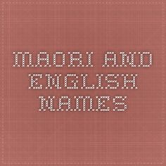 Maori and English Names