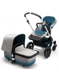 Der neue Bugaboo Cameleon 3 Elements Kinderwagen - Sonderedition mit Farbverlauf von Meerblau zu Grau Melange. Ein Traum! Erhältlich bei www.kleinefabriek.com.