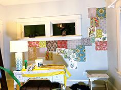 How to make a patchwork wallpaper wall using vintage wallpapers. Wallpaper Paste, Adhesive Wallpaper, Wall Wallpaper, Vintage Wallpapers, Different Patterns, Dining Room Table, Paper Piecing, Bed, How To Make