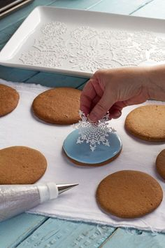 Simple Snowflake Cookies with Cake Lace Snowflakes with thebearfootbaker.com