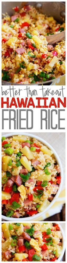 Rice Hawaiian Fried Rice - SO much better than takeout! Loaded with ham, pineapple and veggies, this will blow your mind!Hawaiian Fried Rice - SO much better than takeout! Loaded with ham, pineapple and veggies, this will blow your mind! Pork Recipes, Asian Recipes, Cooking Recipes, Healthy Recipes, Rice Recipes, Arabic Recipes, I Love Food, Good Food, Camping Foods