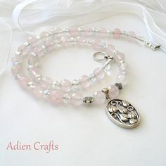 Sterling Silver Rose Quartz Necklace Pink Jewelry by adiencrafts, $45.00