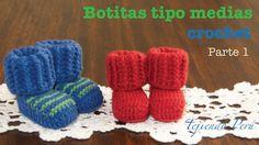 Botas tipo medias tejidas a crochet para bebes (Parte 1)