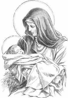Mary and the baby Jesus Mother mary Jesus Mother, Blessed Mother Mary, Blessed Virgin Mary, Baby Jesus, Catholic Art, Religious Art, Jesus Sketch, Mother Mary Tattoos, Blessed Tattoos