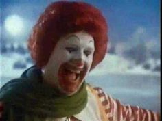 McDonalds 80's holiday commercial. Would anyone else be terrified to come across a clown ice skating in the woods? #holidayad