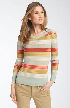 Tory Burch 'Icifera' Print Button Shoulder Sweater