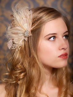 Champagne Peacock Blush Hair Clip Bridal Head Piece Peacock Feather Fascinator Wedding Hairpiece Taupe Vintage - Made to Order - HARLOW. $64.00, via Etsy.