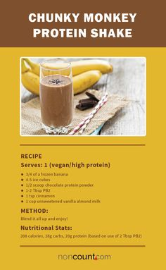 Chunky Monkey Protein Shake 17 Vegan Protein Shake Recipes Almond Milk Smoothie Recipes Frozen Banana Weight Loss Post Workout To Lose Weight Recipes For Men and. Almond Milk Smoothie Recipes, Protein Shake Recipes, High Protein Snacks, Vegan Smoothies, Breakfast Smoothies, Vegan Breakfast, 310 Shake Recipes, Fruit Smoothies, Breakfast Recipes