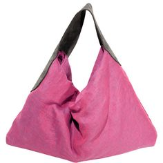 Fuchsia Linen & Suede Tote Bag Unselfish1 ($234) ❤ liked on Polyvore