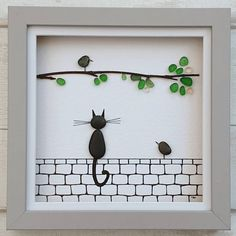 MADE TO ORDER - Pebble art black cat sitting on wall - birdwatching, unique birthday gift Sea Glass Crafts, Sea Glass Art, Sea Art, Hessian Flowers, Birthday Painting, Iphone 6 Plus Wallpaper, Glass Art Pictures, Gifts For New Parents, Unique Birthday Gifts