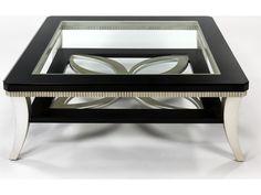 Artmax 42 x 16.5 Square Black Espresso & Silver Leaf Coffee Table | AMX1980CF