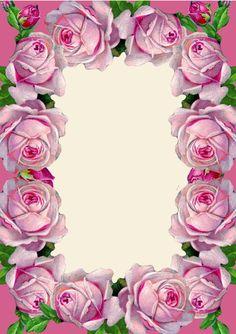 FREE printable pink vintage rose stationery
