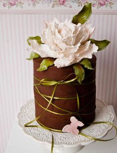 Chocolate cake with a beautiful gum paste peony