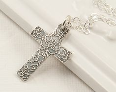 PMC fine silver cross necklace Precious Metal Clay jewelry by BellesBijouxDesigns Cross Jewelry, Cross Necklaces, Metal Clay Jewelry, Precious Metal Clay, Christian Jewelry, Silver Work, Schmuck Design, Clay Beads, Bronze